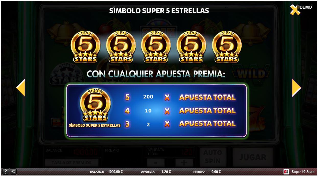 símbolo super 5 estrellas slot super 10 stars