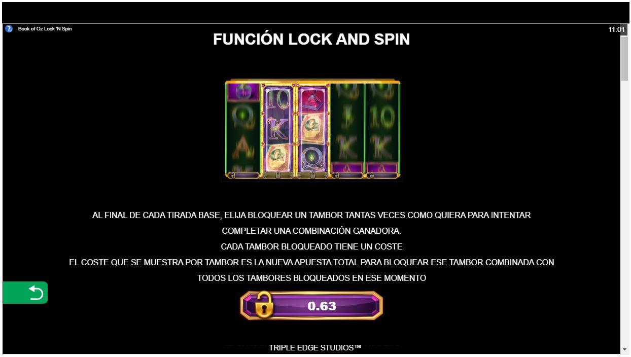 función lock 'n spin book of oz